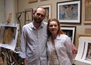 С Кларой Новиковой у себя в мастерской